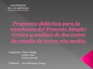 UNIVERSIDAD DE LAS AMERICAS Laureate International Universities