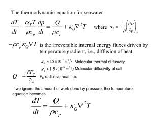 The thermodynamic equation for seawater