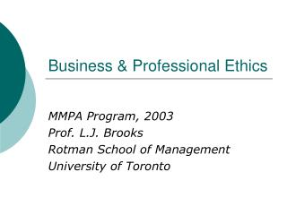 Business  Professional Ethics