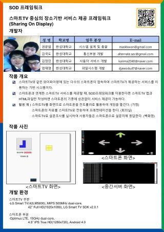 SOD  프레임워크 스마트 TV  중심의 장소기반 서비스 제공 프레임워크 ( Sharing On Display)
