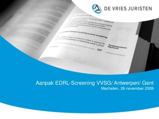 Aanpak EDRL-Screening VVSG
