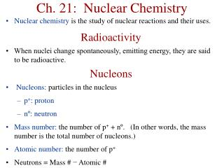 Ch. 21:  Nuclear Chemistry