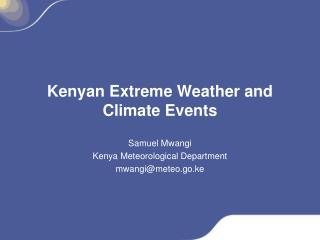 Kenyan Extreme Weather and Climate Events