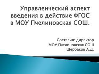 Управленческий аспект    введения в действие ФГОС в МОУ  Пчелиновская  СОШ.