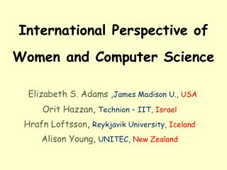 International Perspective of Women and Computer Science