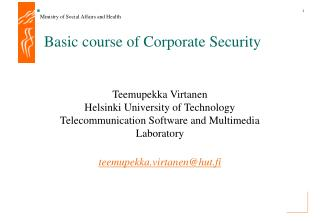 Basic course of Corporate Security