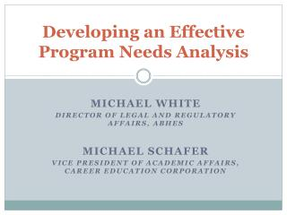 Developing an Effective Program Needs Analysis