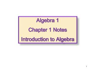 Algebra 1 Chapter 1 Notes Introduction to Algebra