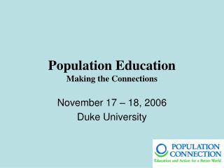 Population Education Making the Connections