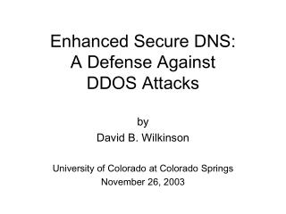 Enhanced Secure DNS: A Defense Against DDOS Attacks