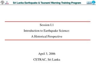 Sri Lanka Earthquake & Tsunami Warning Training Program