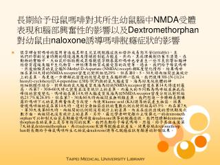 長期給予母鼠嗎啡對其所生幼鼠腦中 NMDA 受體表現和腦部興奮性的影響以及 Dextromethorphan 對幼鼠由 naloxone 誘導嗎啡脫癮症狀的影響