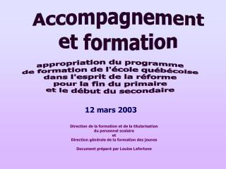 appropriation du programme de formation de l'école québécoise dans l'esprit de la réforme