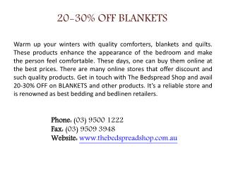 20-30% OFF BLANKETS