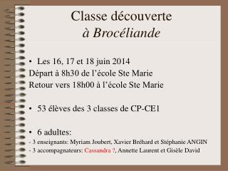 Classe d�couverte � Broc�liande
