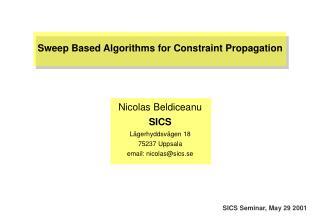 SICS Seminar, May 29 2001