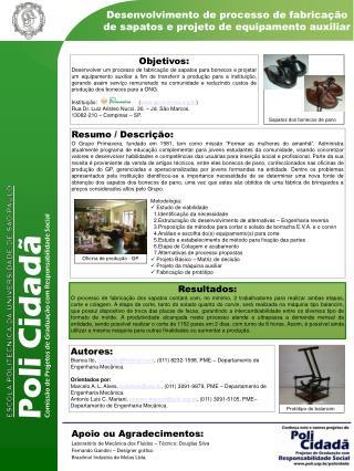 Apoio ou Agradecimentos: Laboratório de Mecânica dos Fluidos – Técnico: Douglas Silva