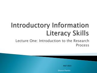 Introductory Information Literacy Skills