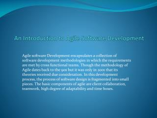 An Introduction to Agile Software Development