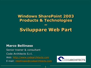 Windows SharePoint 2003 Products & Technologies – Sviluppare Web Part