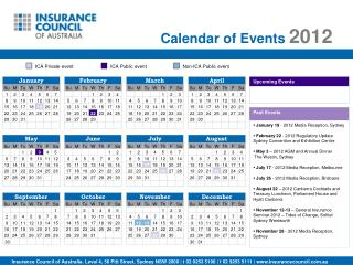 Calendar of Events  2012
