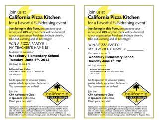 California Pizza Kitchen Tustin Market Place • 3001 El Camino Real 714.838.5083