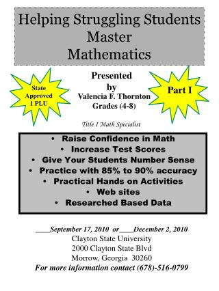 Helping Struggling Students Master  Mathematics