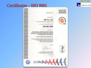 Certificates – ISO 9001