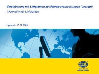 Vereinbarung mit Lieferanten zu Mehrwegverpackungen (Leergut)