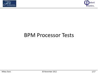 BPM Processor Tests