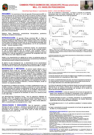 CAMBIOS FÍSICO-QUÍMICOS DEL AGUACATE ( Persea americana  MILL. CV.  HASS) EN POSCOSECHA