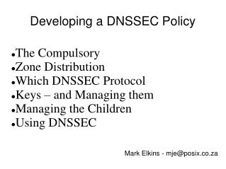 Developing a DNSSEC Policy