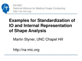 Examples for Standardization of IO and Internal Representation of Shape Analysis