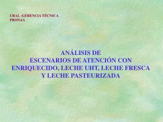 ANÁLISIS DE ESCENARIOS DE ATENCIÓN CON ENRIQUECIDO, LECHE UHT, LECHE FRESCA Y LECHE PASTEURIZADA