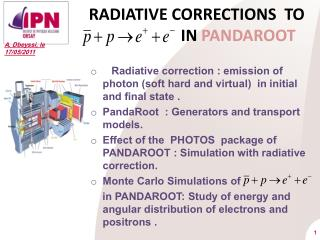 RADIATIVE CORRECTIONS  TO                        IN  PANDAROOT