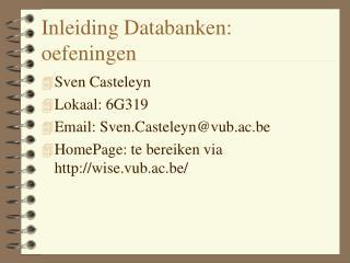 Inleiding Databanken: oefeningen