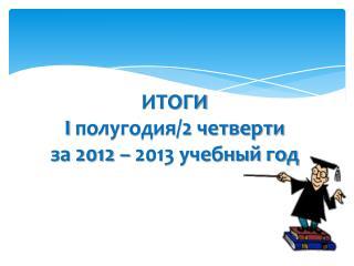 ИТОГИ I  полугодия/2 четверти за 2012 – 2013 учебный год