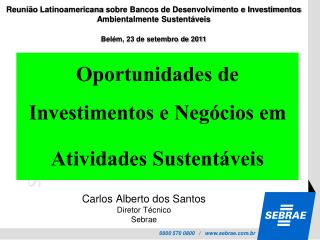 Oportunidades de Investimentos e Negócios em  Atividades Sustentáveis