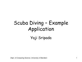 Scuba Diving - Example Application