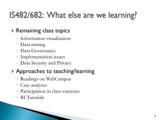 IS482/682:  What else are we learning?