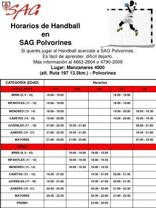Horarios de Handball en SAG Polvorines