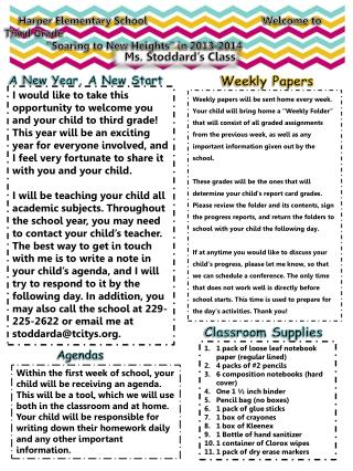 """Harper Elementary School        Welcome to Third Grade     """"Soaring to New Heights"""" in 2013-2014"""