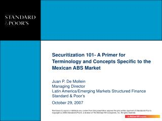 Securitization 101- A Primer for Terminology and Concepts Specific to the Mexican ABS Market