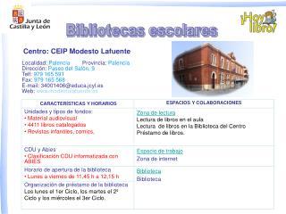 Localidad:  Palencia Provincia: Palencia Dirección: Paseo del Salón, 9  Telf: 979 165 591