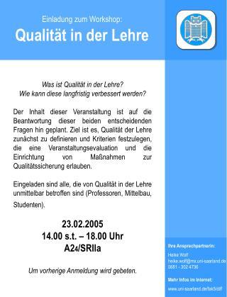 Einladung zum Workshop: Qualität in der Lehre