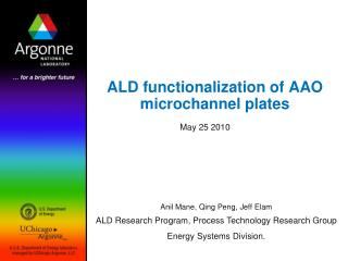 ALD  functionalization  of AAO  microchannel plates