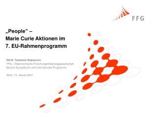 Elli B. Tzatzanis-Stepanovic FFG – Österreichische Forschungsförderungsgesellschaft