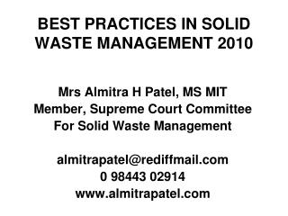 BEST PRACTICES IN SOLID WASTE MANAGEMENT 2010