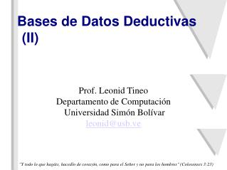 Bases de Datos Deductivas (II)