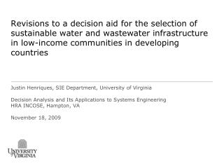 Revisions to a decision aid for the selection of sustainable water and wastewater infrastructure in low-income communiti